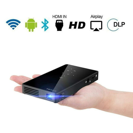 Pocket Portable Mini Projector, 1080P Pico Bluetooth Video Wifi DLP Projector Full HD Support Android 7.1 System HDMI USB TF Card for Home Cinema , Wireless Display for Iphone Home Projectors