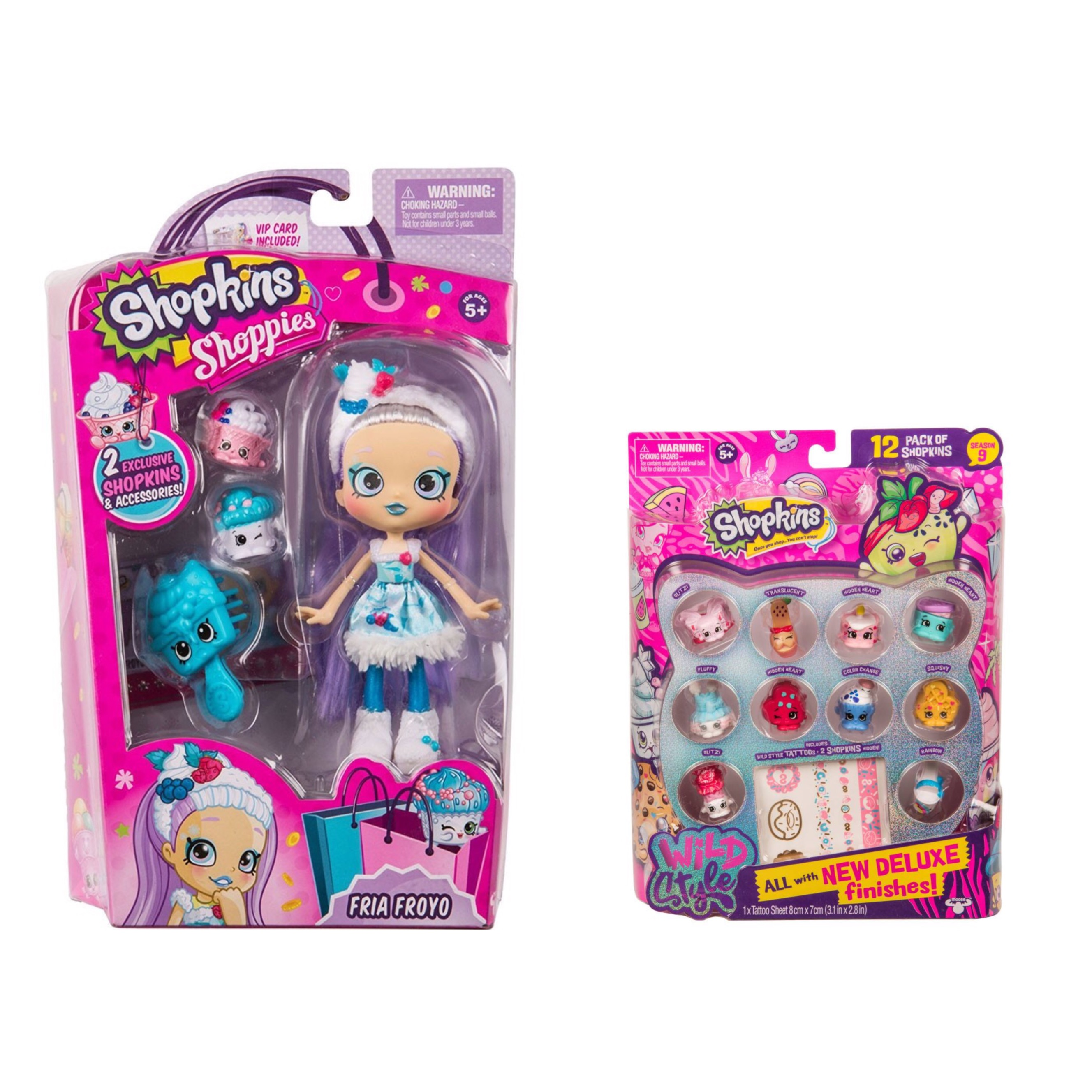 Shopkins Wild Style Season 9 Wild Style Fria Froyo Shoppie Doll and 12 Pack (random styles) Bundle