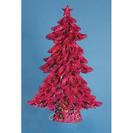 "20"" Lighted Looped Fuchsia Pink Glitter Christmas Tree Decoration - image 2 de 2"