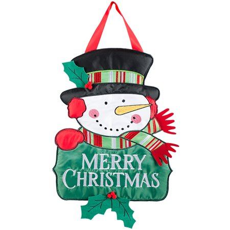 "Christmas Snowman Holiday Door Hanger Merry Christmas 13.5"" x 17.25"""