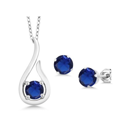 1.65 Ct Blue Simulated Sapphire 925 Silver Pendant Earrings Set With Chain Blue Sapphire Set Earrings