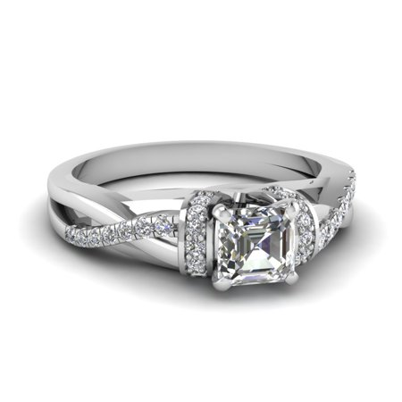Gia Twist (Twist Style Diamond Engagement Ring 0.70 Asscher Cut GIA Certified In 14K White Gold )