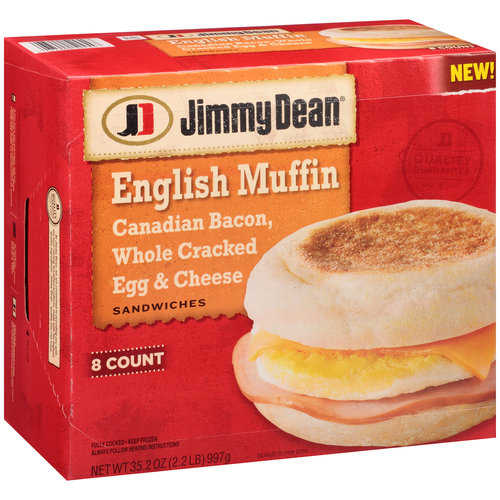 Jimmy Dean Canadian Bacon, Whole Cracked Egg & Cheese English Muffin Sandwiches, 8 count, 35.2 oz