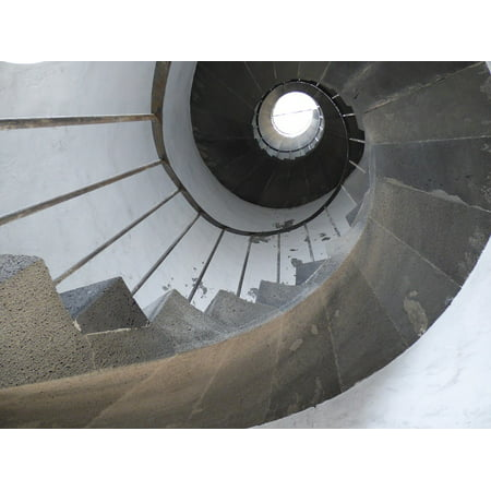 Canvas Print Round Interior Staircase Spiral Railing Stairs Stretched Canvas 10 x 14 ()