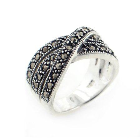 Marcasite Sterling Silver Jewelry Set - Crossover 11mm Wide Marcasite Sterling Silver X Band Ring