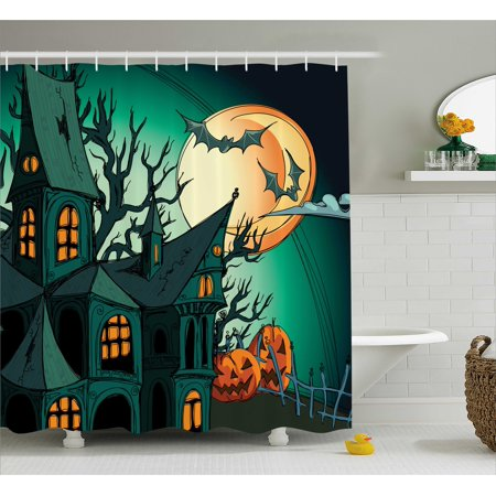 Halloween Shower Curtain, Haunted Medieval Cartoon Style Bats in Twilight Gothic Fiction Spooky Art Print, Fabric Bathroom Set with Hooks, Orange Teal, by - Halloween Cartoon Clip Art