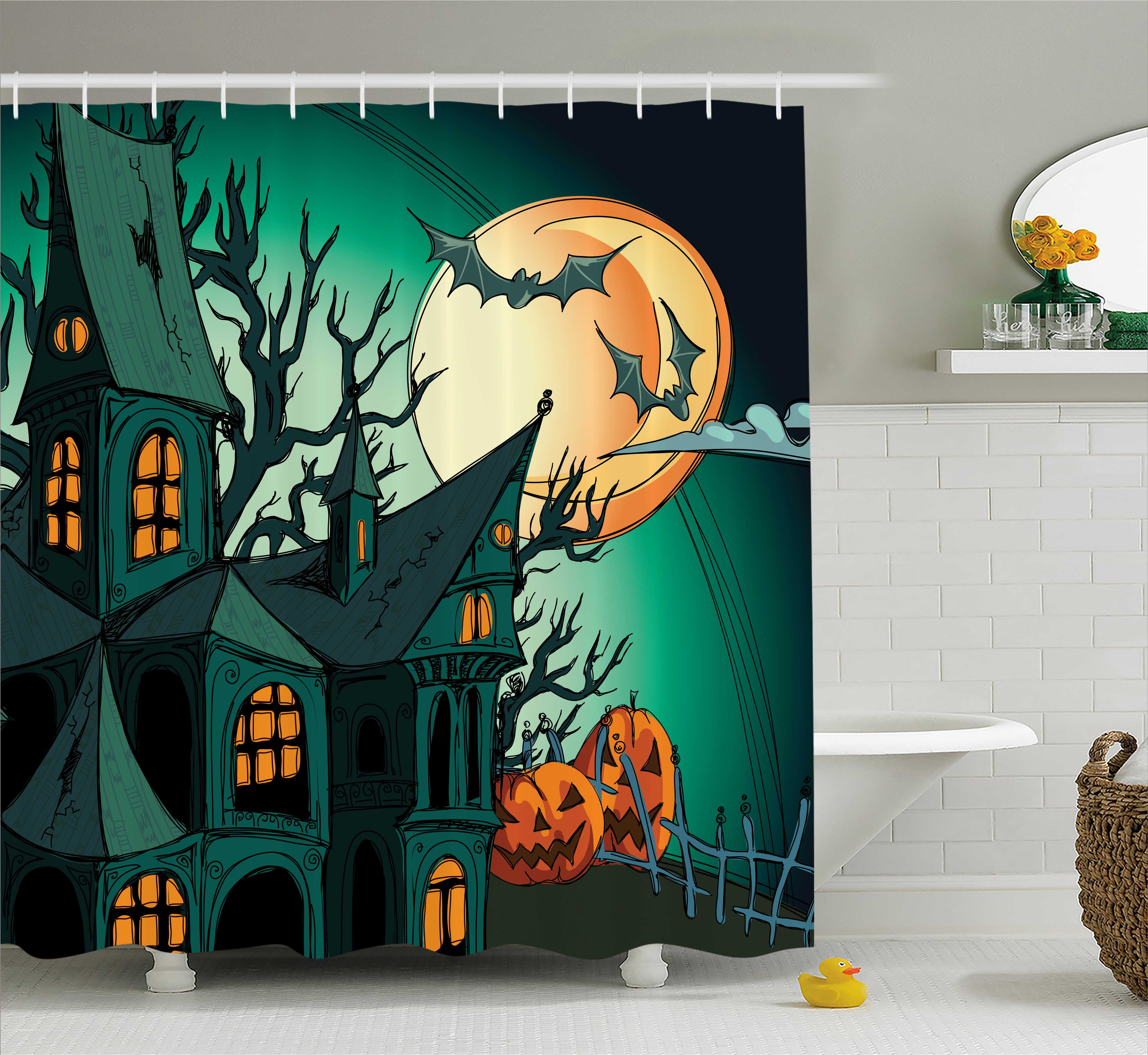 Halloween Shower Curtain, Haunted Medieval Cartoon Style Bats in Twilight Gothic Fiction Spooky Art Print, Fabric Bathroom Set with Hooks, Orange Teal, by Ambesonne