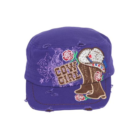 TopHeadwear Cowgirl Boots and Hat Distressed Cadet Cap (Cowgirl Cadet Cap)