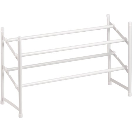 Honey Can Do 2-Tier Steel Expandable Shoe Rack, White
