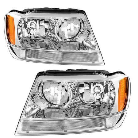 For 99 00 01 02 03 04 Jeep Grand Cherokee Headlight Assembly,OE Projector Headlamp,Amber Reflector Chrome Housing,One-Year Limited