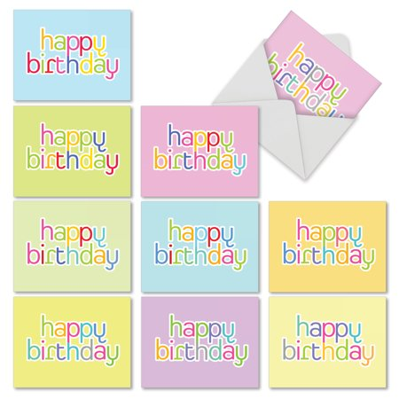 M6572bdb Hipster Birthday 10 Assorted Birthday Note Cards Featuring