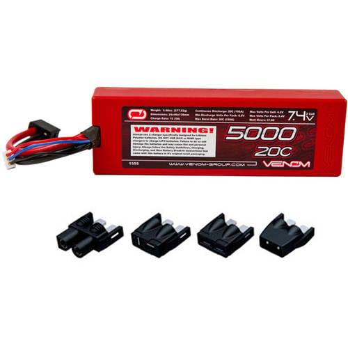 Venom LiPo Battery for Traxxas Slash 1:10 VXL 20C 7.4 5000mAh 2S with Universal Plug