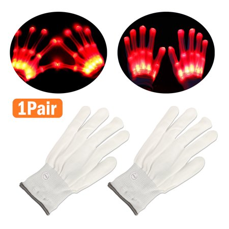 Electro LED Finger Flashing Gloves Light Up Halloween Xmas Dance Rave Party Fun - Finger Light Show