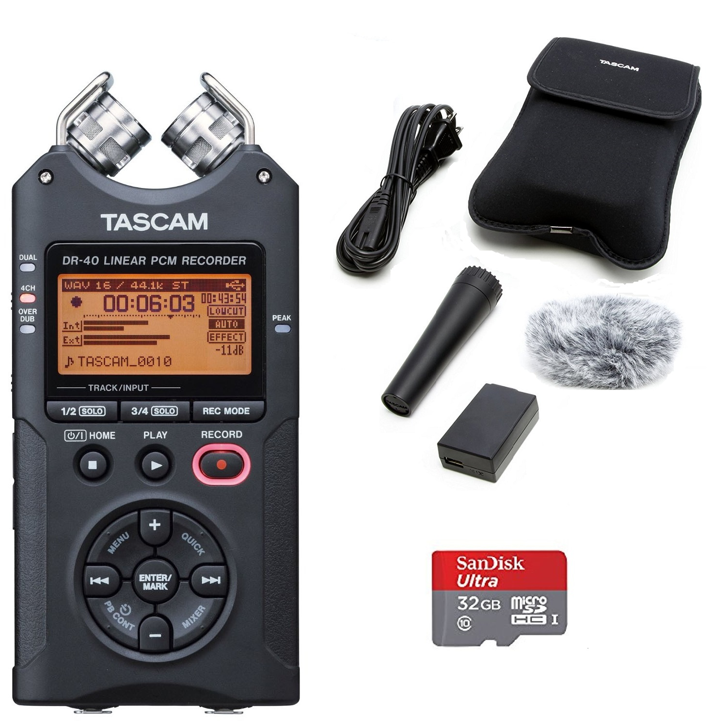 TASCAM DR-40 Digital Recorder with Tascam Accessory Kit and 32GB Micro SD Card