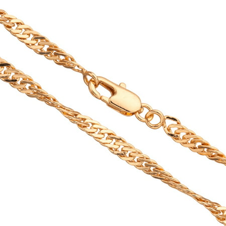 20Inch Necklace Twisted Flat Curb Chain With Lobster Claw Clasp (3-Chain Value Bundle), SAVE