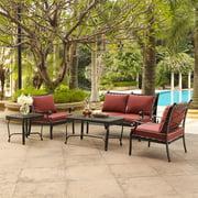 Crosley Portofino Cast Aluminum 5-Piece Conversation Set with Sangria Cushions, 5-Piece