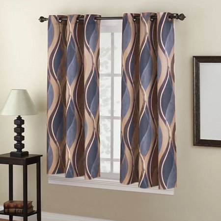 Intersect Wave Room Darkening Window Curtain Panel with Hanging Grommets ()