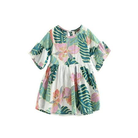 BOBORA Summer Infant Baby Girls Cotton Ink Flower Flare-sleeved Shirt Dresses - Cotton Flower Girl Dresses