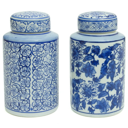 Blue and White Tea Canisters - Set of 2