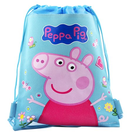 Peppa Pig Character Authentic Licensed Blue Drawstring - Drawstring Handbag