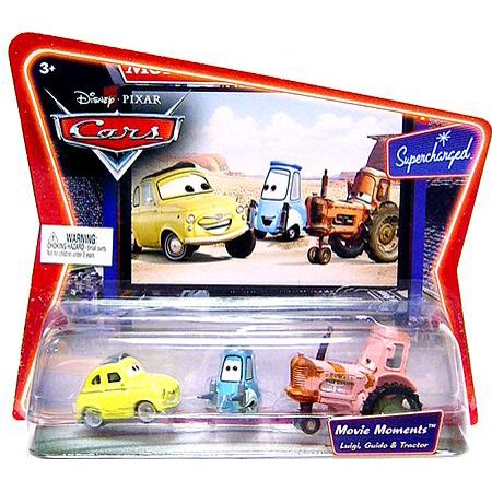 Disney Cars Supercharged Movie Moments Luigi, Guido & Tractor Diecast Car 3-Pack (Guido Cars)