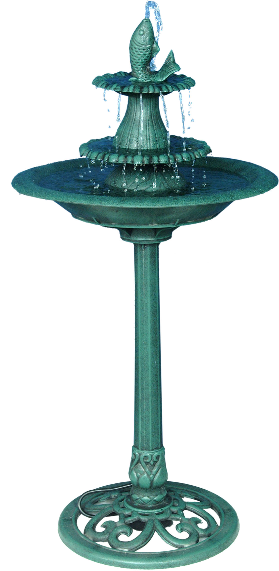 41 Inch Tiered Pedestal Fish Fountain Birdbath by Benzara
