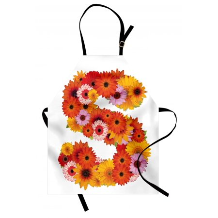 Letter S Apron Organic Color Palette Gerbera Bouquet Natural Looking Petals Letter S Alphabet, Unisex Kitchen Bib Apron with Adjustable Neck for Cooking Baking Gardening, Multicolor, by Ambesonne