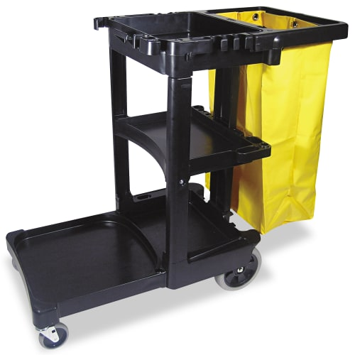 "Rubbermaid Commercial RCP617388BK Multi-Shelf Cleaning Cart 3-Shelf 20""w x 45""d"