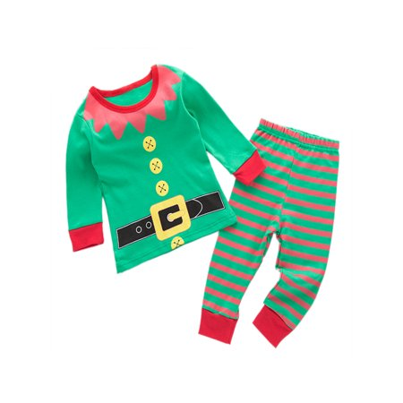 StylesILove Holiday Season Kids Baby Shirt and Pant 2-pc Pajamas Set (18-24 Months, Elf Green)