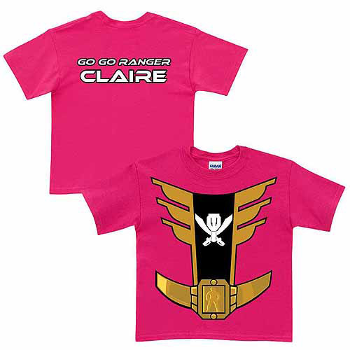 Personalized Power Rangers Pink Ranger Girl's Hot Pink T-Shirt