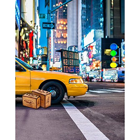 HelloDecor Polyster 5x7ft Taxi New York City Street Photography Studio Backdrop