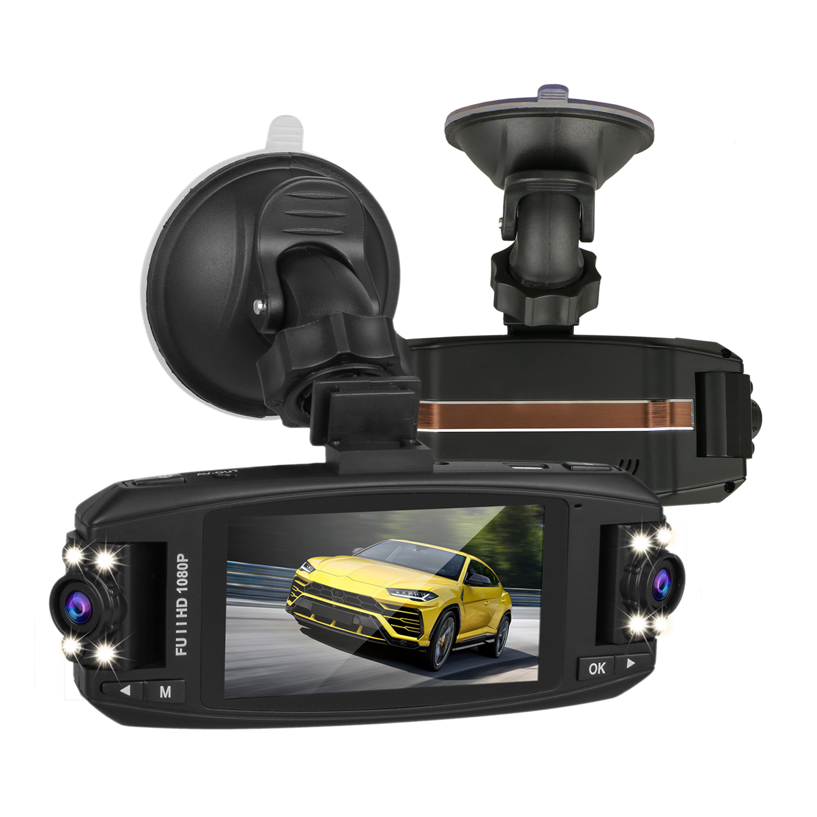 Night Vision 1080P 2.7/'HD LCD Dual Lens Car Dash Camera Video DVR Cam Recorder B