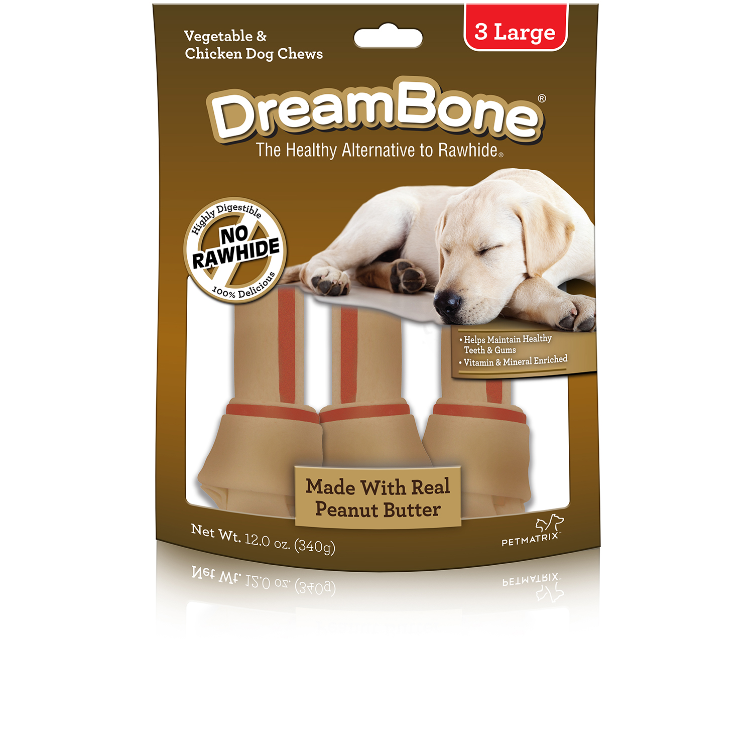 DreamBone Peanut Butter Large Dog Chews, 3-Count, 12-Ounce