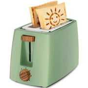 Household 2-Slice Toaster,Mini Electric Toaster,Patterned,6 Variable Browning Settings,for Kitchen Makes Breakfast The Family Convenient and Fast (Color : Green sun pattern)