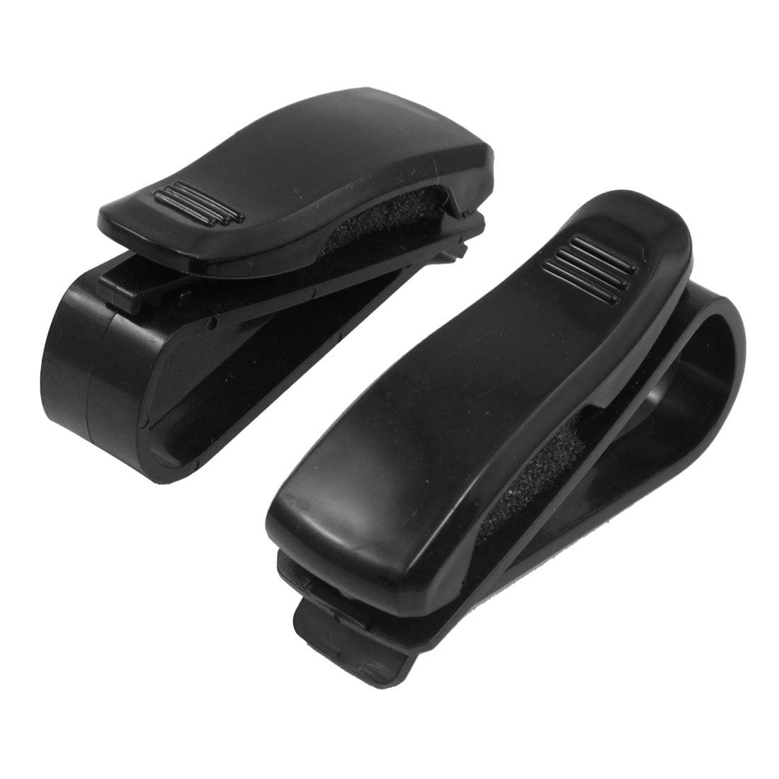 2 x Black Plastic Eyeglasses Card Clip Holder for Auto Cars