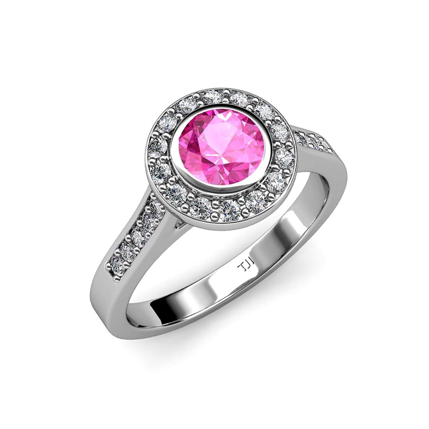 Pink Sapphire and Diamond (VS2-SI1, F-G) Halo Engagement Ring 1.41 ct tw in 18K White Gold.size 6.0 by TriJewels
