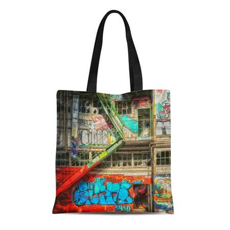 POGLIP Canvas Tote Bag Colorful Spray Graffiti Street Abandoned Paint Artist Unique Reusable Handbag Shoulder Grocery Shopping Bags - image 1 of 1