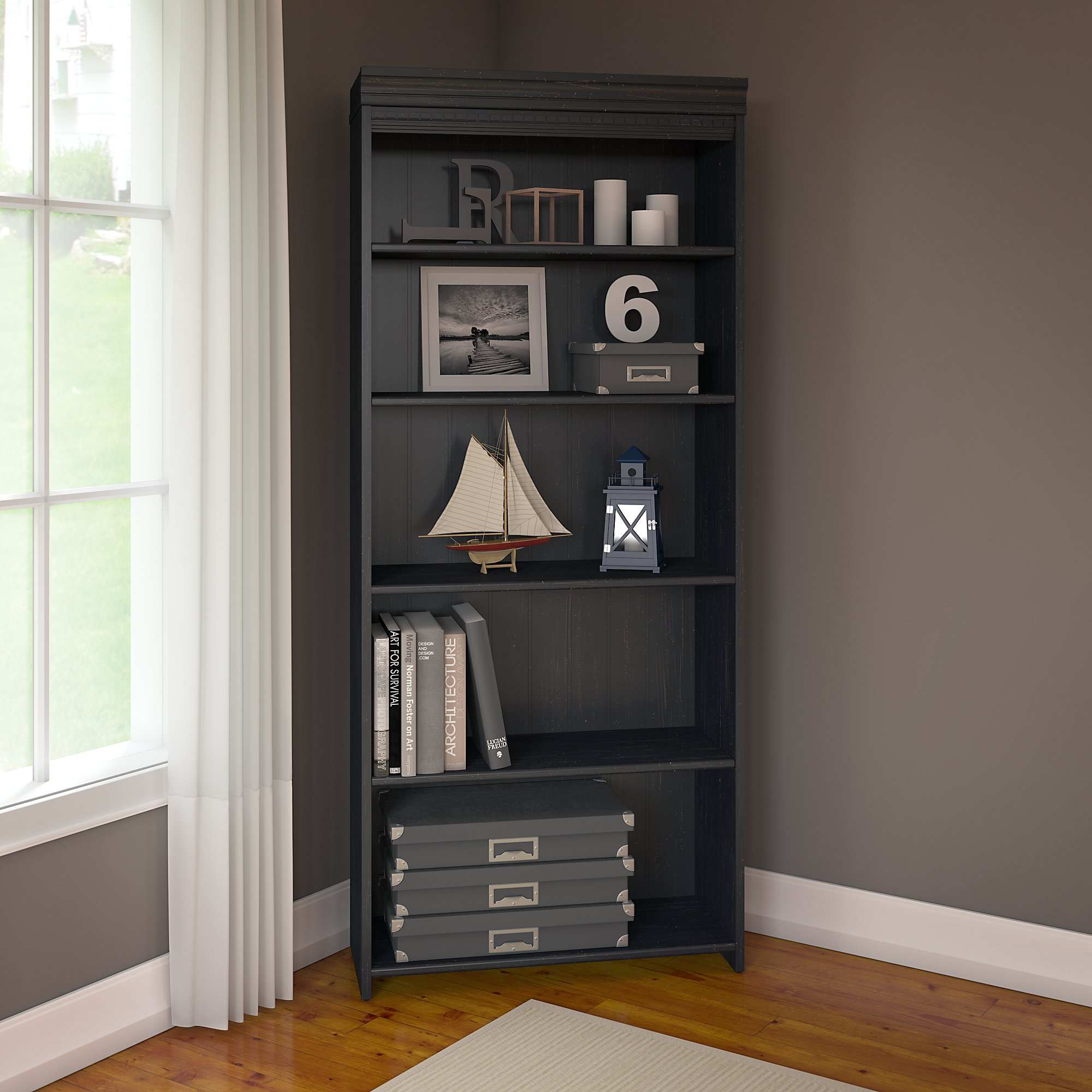Bush Furniture Fairview 5 Shelf Bookcase in Antique Black