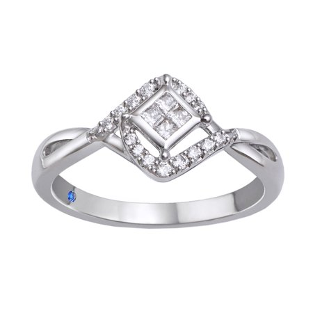 Princess Cut White Diamond Tilted Promise Ring in 10k Solid Gold (0.2