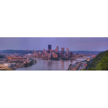 City Viewed From The West End At Sunset Pittsburgh Allegheny County Pennsylvania Usa 2009 Canvas Art   Panoramic Images  18 X 6