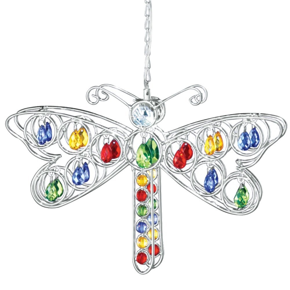 Solar Dragonfly Hanging Yard Decoration, Silver, Features faux crystal acrylic beads, dangler automatically glows with solar-powered light at night By Collections Etc