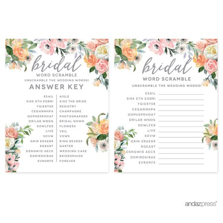 Peach Coral Floral Garden Party, Wedding Word Scramble Bridal Shower Game Cards, 20-Pack ()
