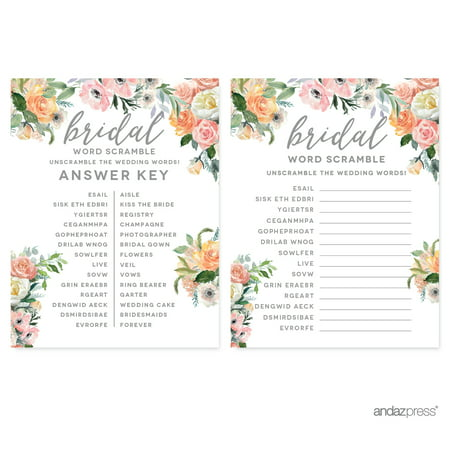 Peach Coral Floral Garden Party, Wedding Word Scramble Bridal Shower Game Cards, 20-Pack Bridal Party Personal Package