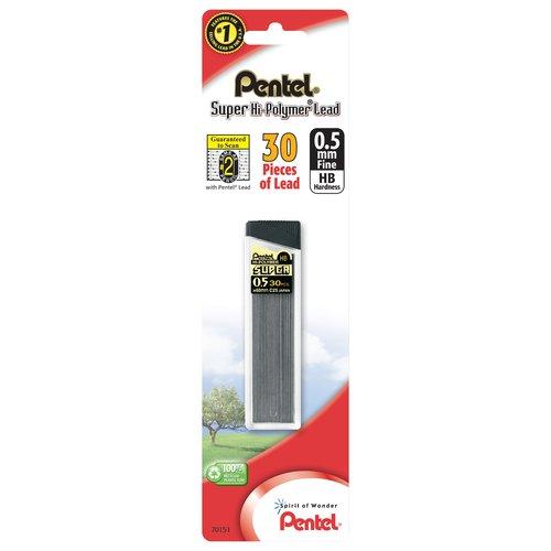 (4 Pack) Pentel Super Hi-Polymer Lead, 0.5mm, Fine, 30 ct