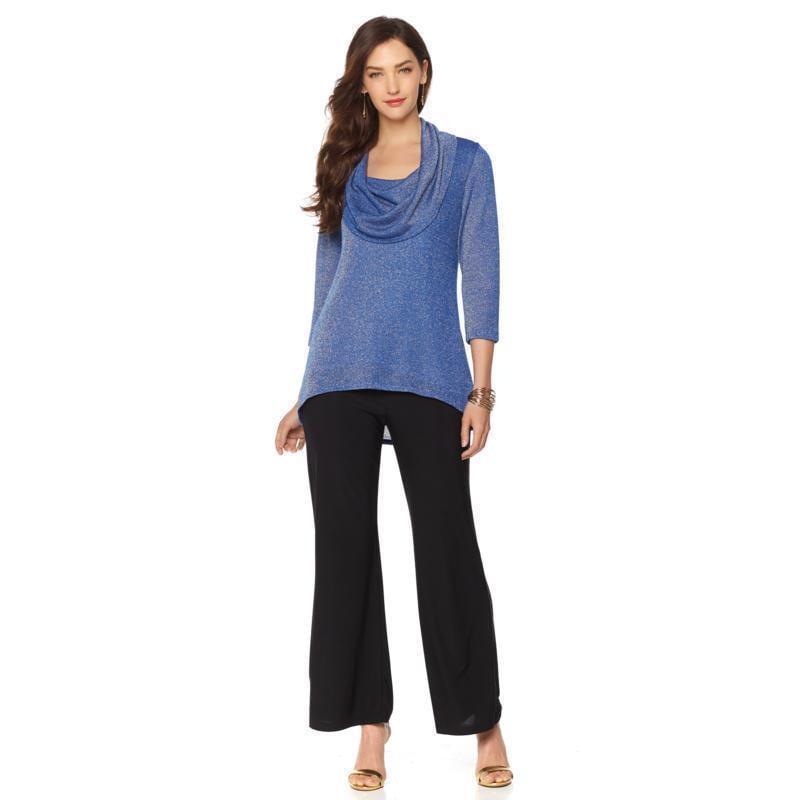 SLINKY BRAND 3/4-Sleeve Cowl Neck Sparkle Sweater Royal Blue Size Large