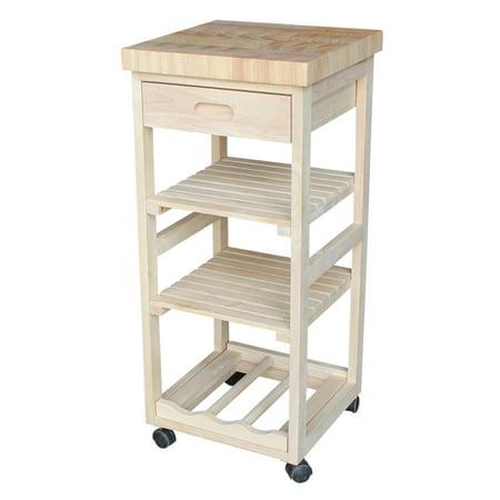 High Unfinished Oak Kitchen - International Concepts Kitchen Trolley, Unfinished