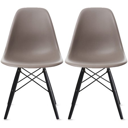 Cool 2Xhome Set Of 2 Two Grey Eames Style Side Black Dark Wood Legs Eiffel Dining Room Chair Lounge Chair No Arm Armless Less Chairs Seats Molded Creativecarmelina Interior Chair Design Creativecarmelinacom