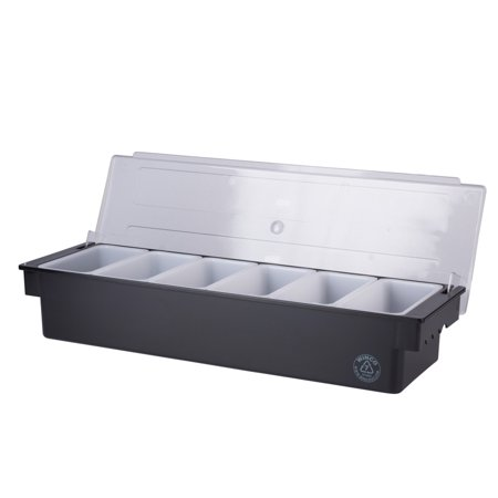 Bar Garnish Tray with Lid - Plastic - 6 Compartments