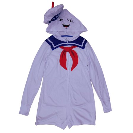 Ghostbusters Junior Womens Stay Puft Halloween Costume Jumpsuit Hooded Romper (Stay Puft Costume Women)