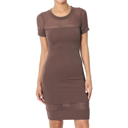 TheMogan Women's Sheer Mesh Panel Short Sleeve Bodycon Mini (Mesh Panel Dress)